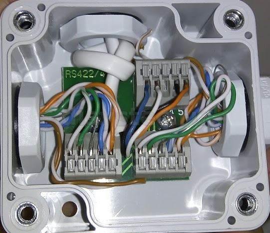 Расключение коммутационной коробки RS-485